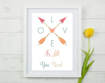Love Is All You Need. Typography. Motivational Quotes. Inspirational Quotes. Gift For The Home. A4 Print