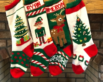 4fa2f19fac2 Hand Knit Christmas Stockings with Snowman Gingerbread Man