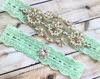 b945b144d9f1 Mint bridal garter