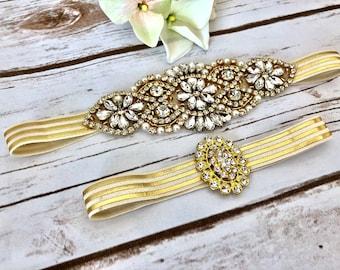 e9684c2d7c Gold Wedding Garter - No Slip Bridal Garters, Gold Crystal Garter Set, Gold  Rhinestones, Elegant Gold Garter