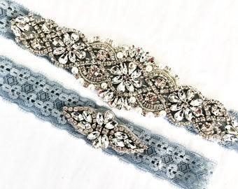 Non Slip Wedding Garter Blue Rhinestone blue lace wedding garter bling Something blue garter vintage pearls Steel Blue Wedding Garter