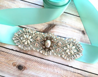 Wedding Sash, Pearl Wedding Sash, Bridal Sash, Bridal Sash Aqua, Bridal Sash Pearl, Pearl Bridal Sash, Wedding Belt, Bridal Belt Sash