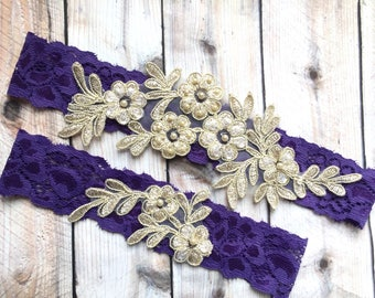Wedding garter purple, garter set purple, purple wedding garter, bridal garter purple, purple bridal garter, purple garter set, lace garter