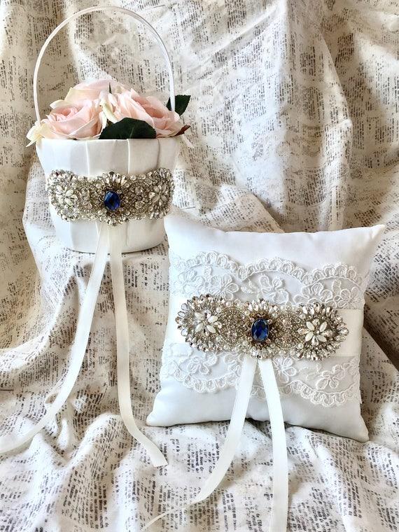 Flower girl basket navy blue, navy flower girl basket, navy ring bearer pillow, navy blue flower girl basket and ring bearer