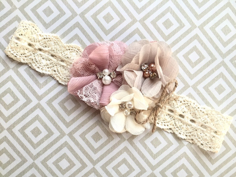 rustic flower girl headband headband for babies fall Fall flower girl headband Fall baby headband vintage headband baby headbands fall