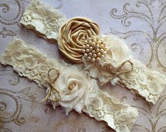 Gold Wedding Garter, Rustic Wedding Garter, Rustic Garter, Wedding Garter Set, Lace Garter Set, Gold Garter, Burlap Garter, Bridal Garter