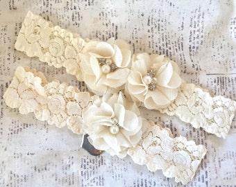 Wedding Garter Set Ivory, Lace Bridal Garter, Ivory Garter Set, Ivory Lace Garter, Ivory Bridal Garter, Ivory Toss Garter, You're Next Charm