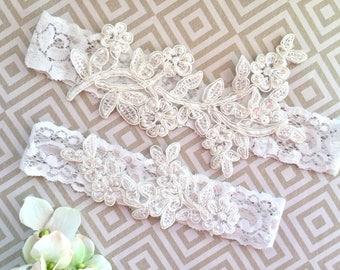 Light Ivory Wedding Garter, Off White Wedding Garter, Light Ivory Lace Garter, Light Ivory lace Garter Set, Off White Lace Garters