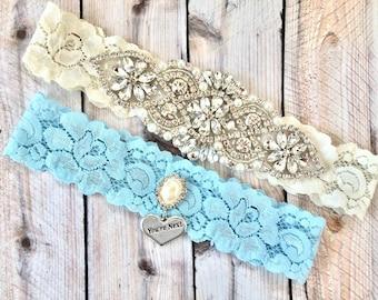 Blue bridal garter, something blue garters, something blue, aqua wedding garter, blue garter set, blue wedding garter, wedding garters
