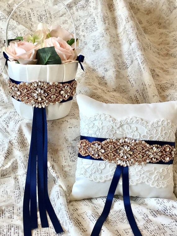 016c48f79ad61 Navy wedding set navy flower basket navy flower girl navy | Etsy
