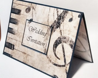 "Music wedding party invitation,""Annabelle Music"" invitation"