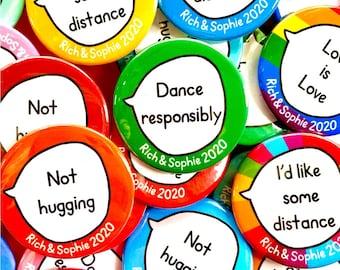 Social Distancing Wedding Kit. 40 badges.