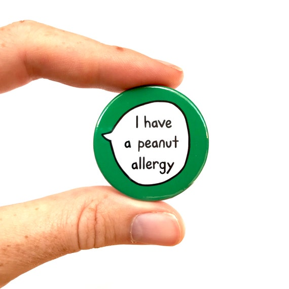 ALLERGY ALERT NO PEANUTS PLEASE 38 mm Button Badge Pin Backed Medical Alert