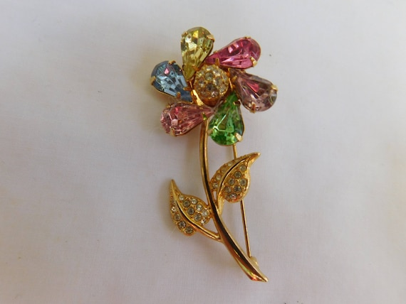 Joan Rivers signed pinwheel flower brooch=multi co