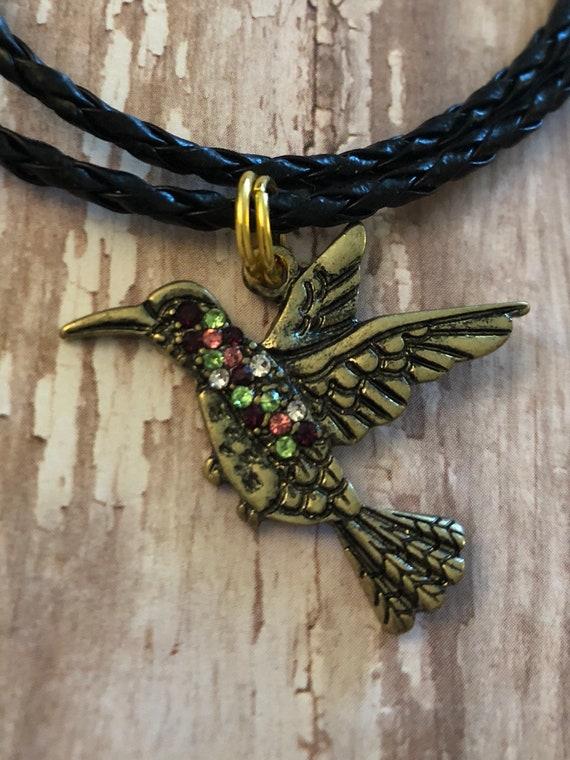 d8f74c485 Hummingbird charm necklace hummingbird on a braided cord