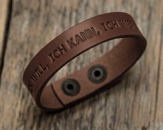 Italian brown leather personalized bracelet, vegetable tanned, engrave phrase, initials, name, text or word