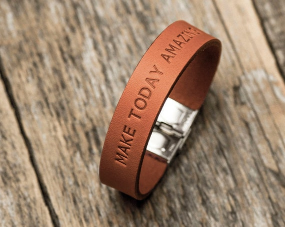 Italian burnt orange leather personalized bracelet, vegetable tanned, engrave your name, phrase, initials, text or word