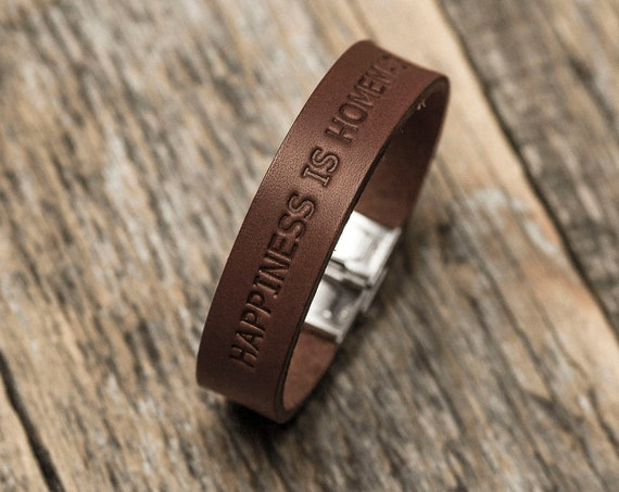 Italian brown leather personalised bracelet, vegetable tanned, engrave your name, text, word, phrase, initials or word