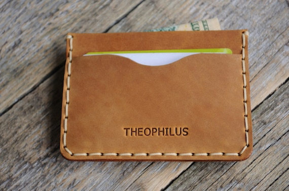 Tan Brown Leather Wallet. PERSONALIZED Credit Card Cash and Banknote Holder. Rustic Rough Style Pouch.