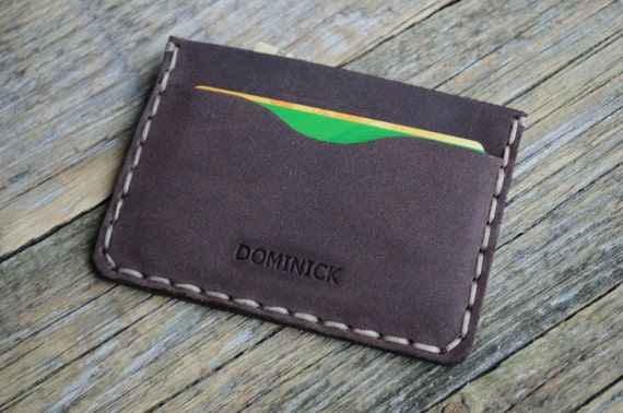 Brown Leather Wallet. PERSONALIZED Credit Card or Cash Holder. Handmade and Hand Sewn Unisex Pouch.