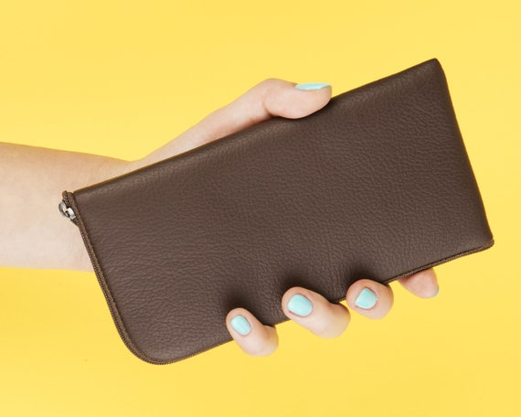 Brown Italian Leather Wallet for Fairphone 3. Organizer Case with Zipper. Purse Sleeve Pouch Cover