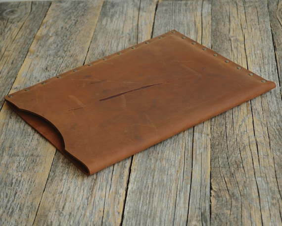 Dark Brown Case for iPad Pro 9.7-inch, 12.9‑inch Air 2 Cover MONOGRAM Your Name Leather Sleeve Vintage Look Handmade Rivets Rought Style Bag