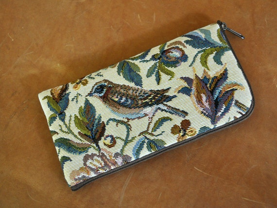 Case for Nokia - Pouch with Zipper - Bird Print Upholstery Fabric - Cover Purse Sleeve