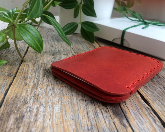 Valentines Gift! PERSONALIZED Simplistic Red Leather Wallet. Unisex Pouch. Credit Card Cash or ID Holder. Handmade and Hand Stitched Pouch.