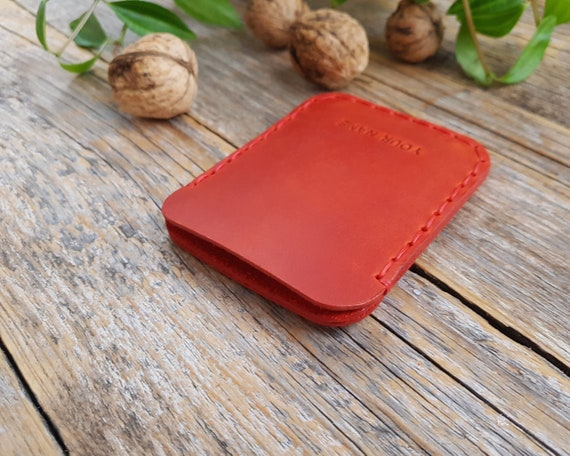 Christmas Gift! PERSONALIZED Simplistic Red Leather Wallet. Unisex Pouch. Credit Card Cash or ID Holder. Handmade and Hand Stitched Pouch.