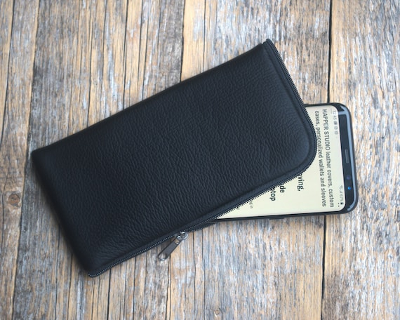 Italian Leather Pouch for iPhone 11 Pro Max XR X 8 Plus 7 6 SE Cover Case. Wallet with Zipper Black Purse, Sleeve Pouch.