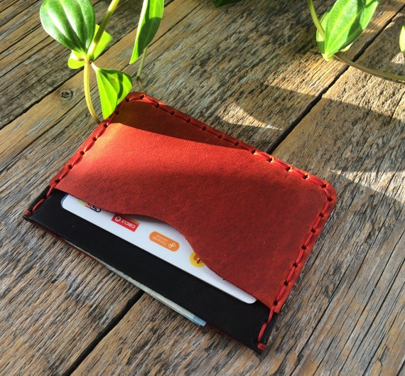 Black and Red Leather Wallet. PERSONALIZED Credit Card Cash or ID Holder. Unique Unisex Pouch.