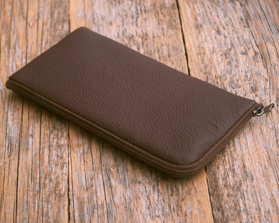 Brown Italian Leather Cover for Samsung Galaxy Note 10+ 10 Plus 9 S10+ S9+ S9 A90 A80 A70 A50 A40 A30 M10 M20 Case Wallet Pouch with Zipper