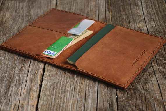 Dark Brown Genuine Leather Passport, Cards Holder with Secure Wallet Cover Case Monograme Your Name, Travel Wallet