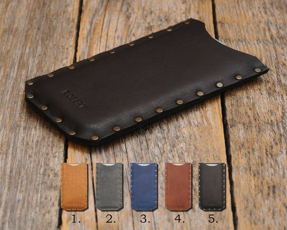 Riveted Case for OnePlus 7T 7 Pro 5G 6T 6 5T 5 Waxed Cowhide Leather Cover. Personalized your Name. Rough Style Pouch Sleeve . Custom Sizes.