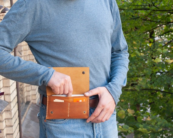 Bovine leather case for Microsoft Surface Duo, TAN BROWN purse with belt loop and card pocket