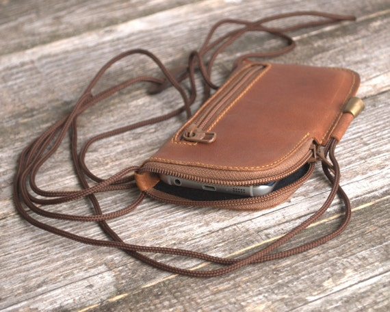 Cover for iPhone XS X 8 7 6 Case Leather Mini Bag. Wallet with Zippers and Pockets Purse with Neck Strap. Sleeve Pouch 6 6s SE 5 5s