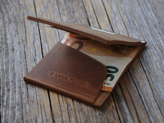 Personalised Thin Bifold Wallet, Bovine Leather Cash Clip Banknote Holder