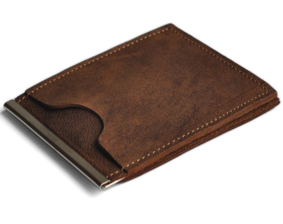 Travel wallet ultra thin for minimalists unisex brown leather bi-fold, credit card cash banknote holder