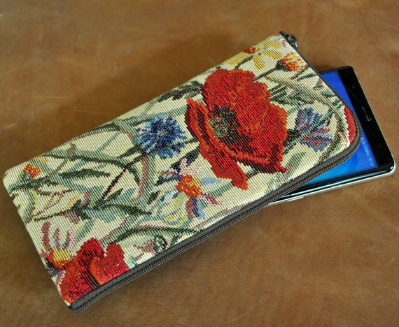 Red Poppies Fabric Cover for OnePlus, Nord 8 Pro 7T 76T 6, Sleeve Case Pouch with Zipper, Wallet Purse