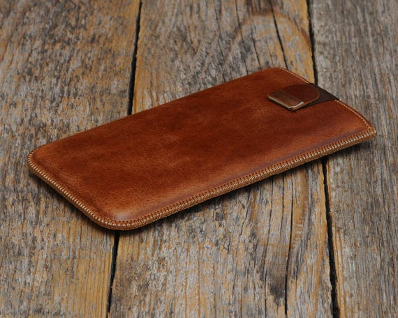 MONOGRAMMED Case with Magnetic Flap for Microsoft Lumia 950 540 Dual 430 640 XL. Genuine Brown Leather Sleeve Cover Pouch