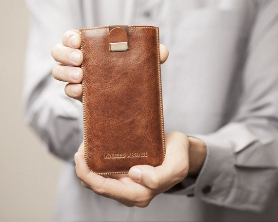 Italian Leather Cover Case for Fairphone 3. Brown Sleeve with Magnetic Pull Band. Slip Genuine Protective Pouch. Engraved Your Text or Name