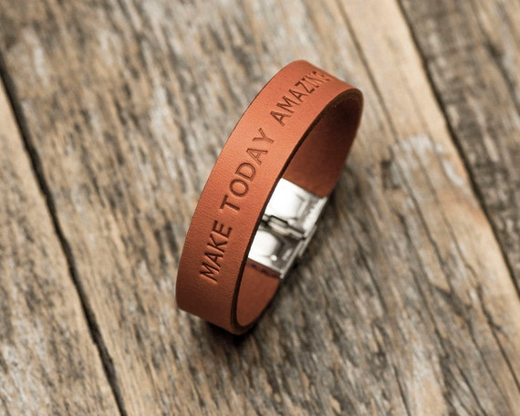 Italian orange leather personalized bracelet, vegetable tanned, engrave your name, phrase, initials or word