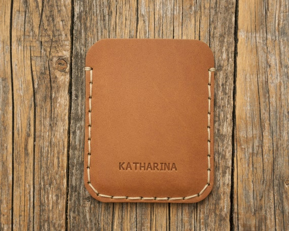PERSONALIZED Simplistic Tan Brown Leather Wallet. Unisex Pouch. Credit Card Cash or ID Holder. Handmade and Hand Sewn Item.