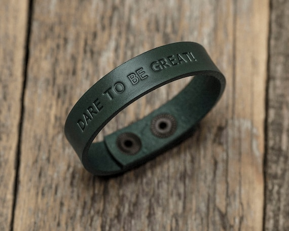 Italian green leather personalized bracelet, vegetable tanned, engrave phrase, initials or word, custom text or name