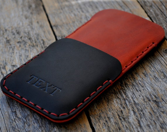 Cover for Microsoft Surface Duo (WITHOUT BUMPER), Black and Red Leather Case, Hand Stitched Wallet Sleeve, Personalised Pouch Card Pocket