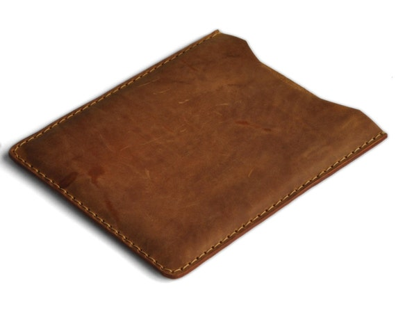 iPad Air 2 Case. Light Brown Waxed Genuine Leather Sleeve. Raw Style Handmade Pouch Cover.
