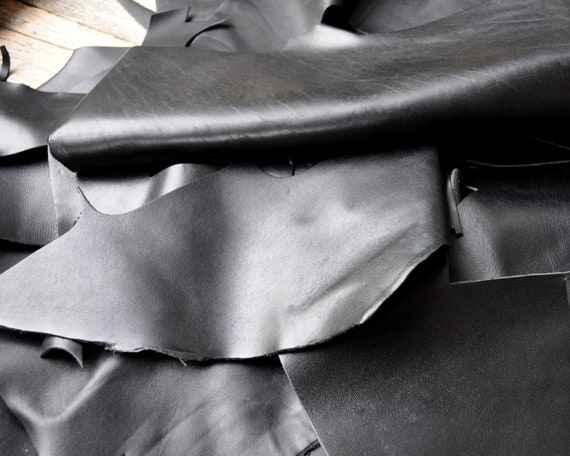 Italian Cowhide Leather Pieces for Arts and Crafts, Black Calf Hide Sheets, Soft and Supple, 1,8 kg Bag Of Scrap