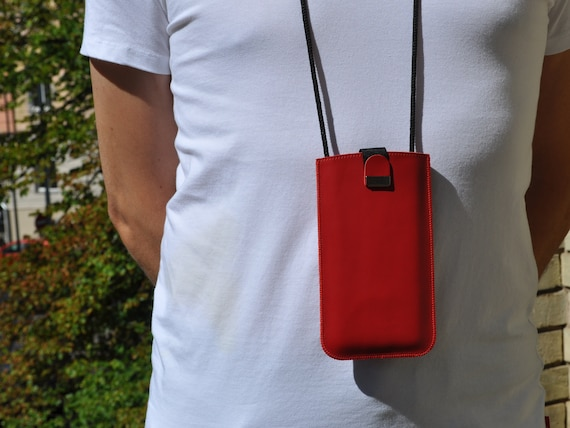 Red Italian Leather Case For Xiaomi, Free Personalisation, Pouch with Adjustable Neck Strap