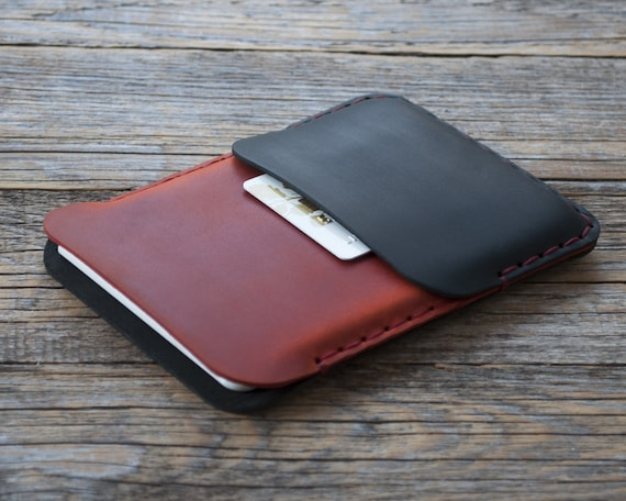 Cover for Microsoft Surface Duo, Black and Red Leather Case, Hand Stitched Wallet Sleeve, Personalised Pouch Card Pocket