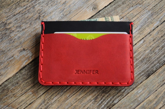 Red and Black Leather Wallet, Credit Card Cash or ID Holder, Unique Unisex Pouch, PERSONALIZED